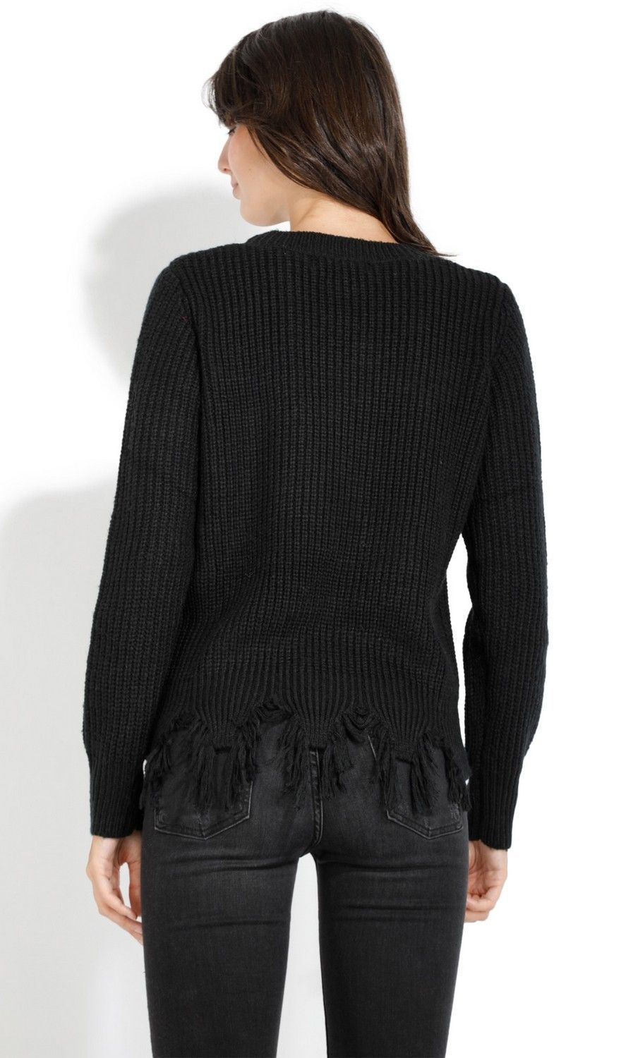 Assuili Crew Neck Ribbed Sweater with Distressed Hem in Black