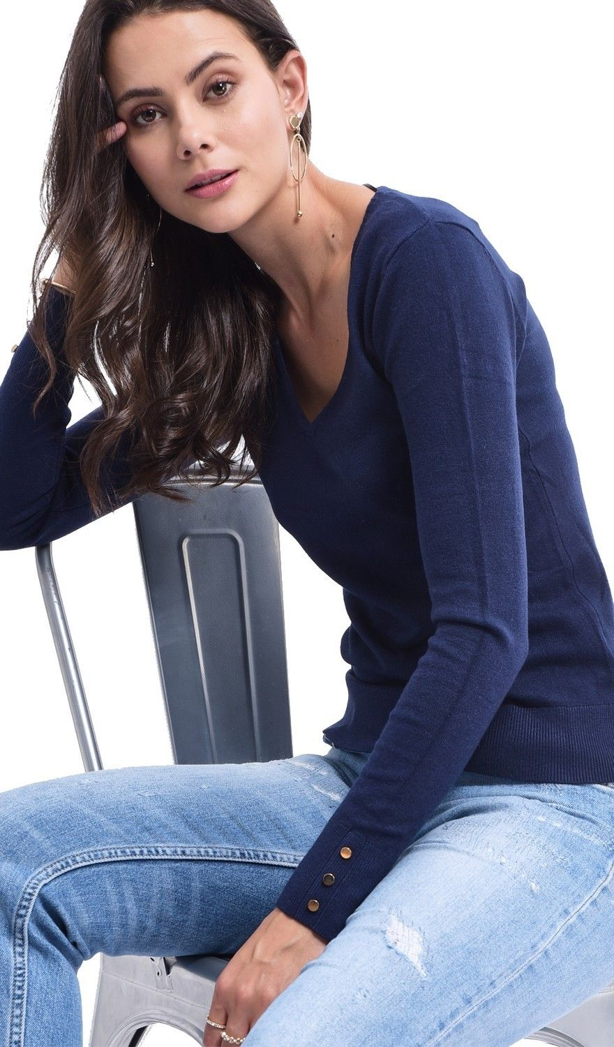 Assuili V-neck Sweater with Buttoned Sleeves in Navy