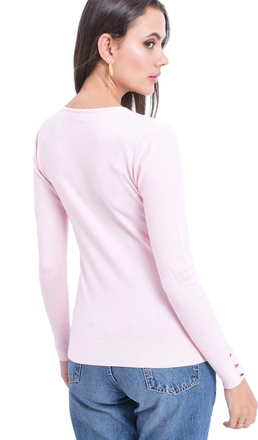 Assuili V-neck Sweater with Buttoned Sleeves in Pink