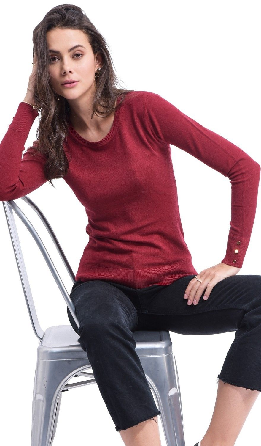 Assuili Round Neck Sweater with Buttoned Sleeves in Maroon