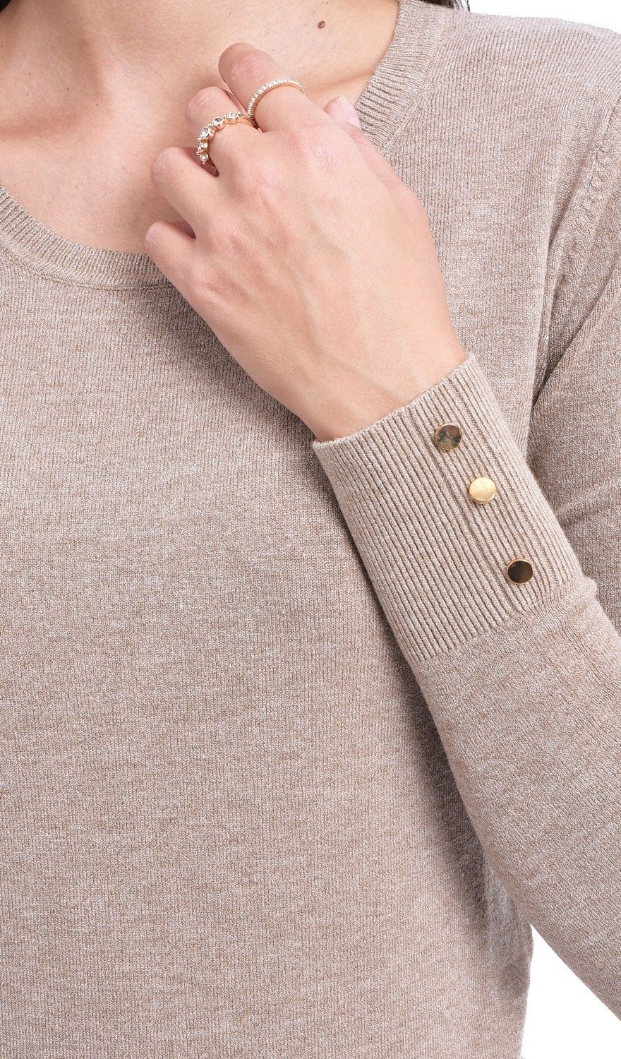 Assuili Round Neck Sweater with Buttoned Sleeves in Beige