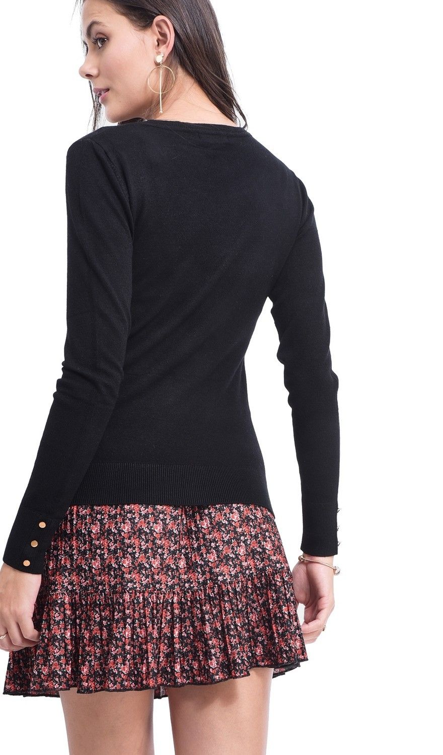 Assuili Round Neck Sweater with Buttoned Sleeves in Black