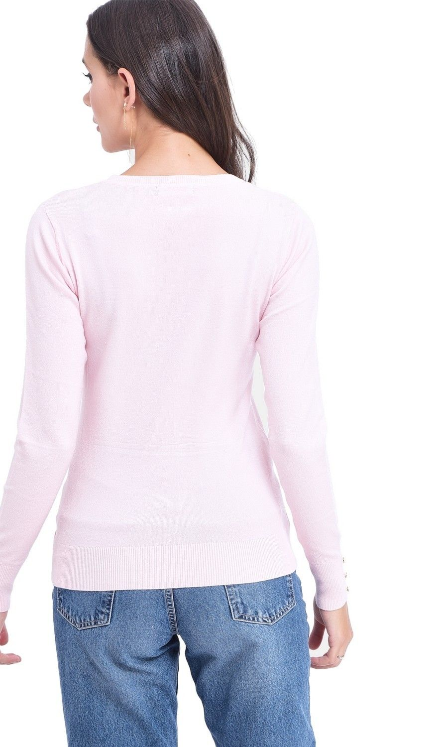 Assuili Round Neck Sweater with Buttoned Sleeves in Pink