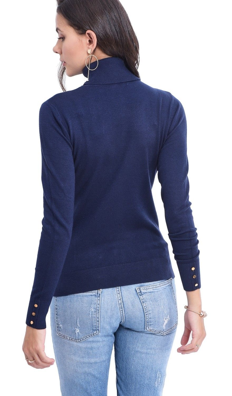 Assuili Roll Neck Sweater with Buttoned Sleeves in Navy