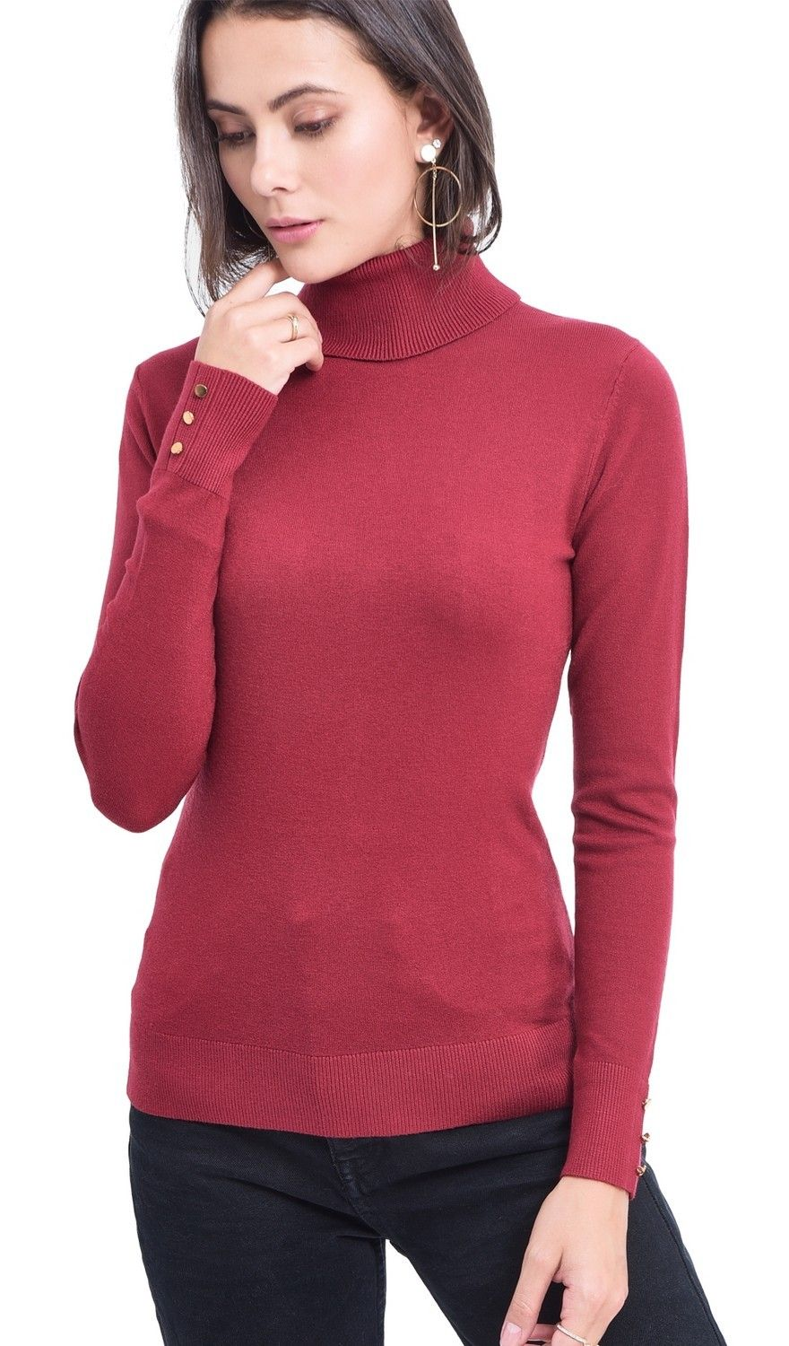 Assuili Roll Neck Sweater with Buttoned Sleeves in Maroon