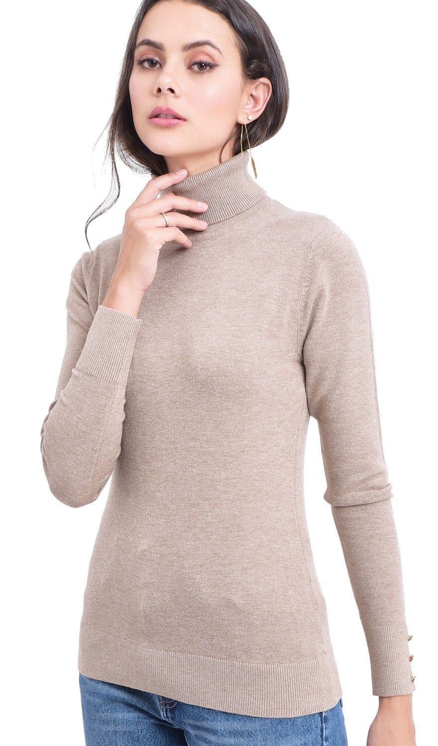 Assuili Roll Neck Sweater with Buttoned Sleeves in Beige