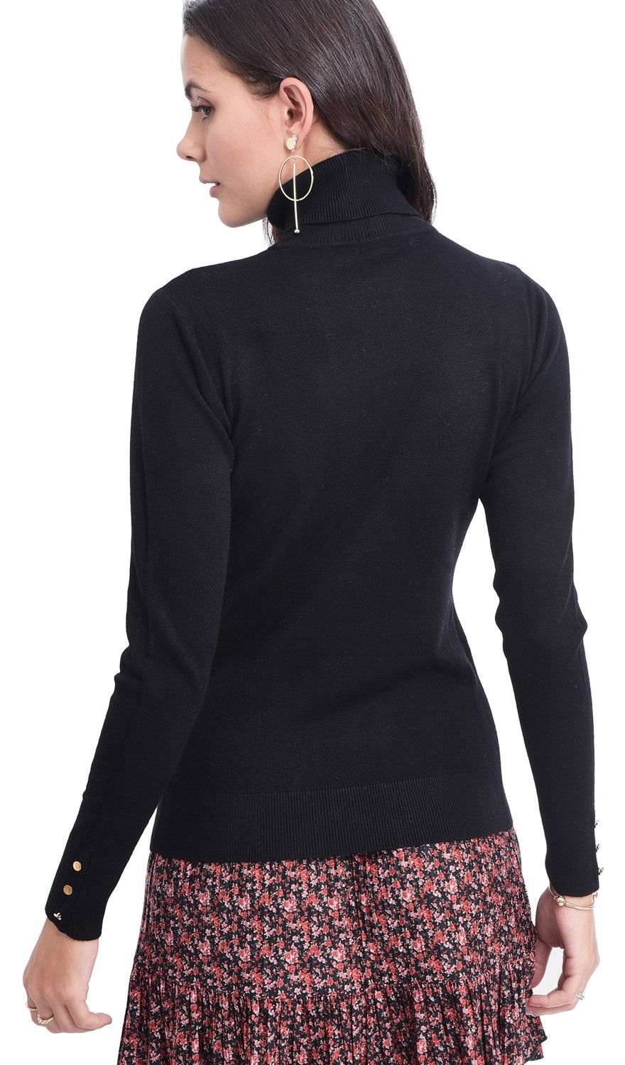 Assuili Roll Neck Sweater with Buttoned Sleeves in Black