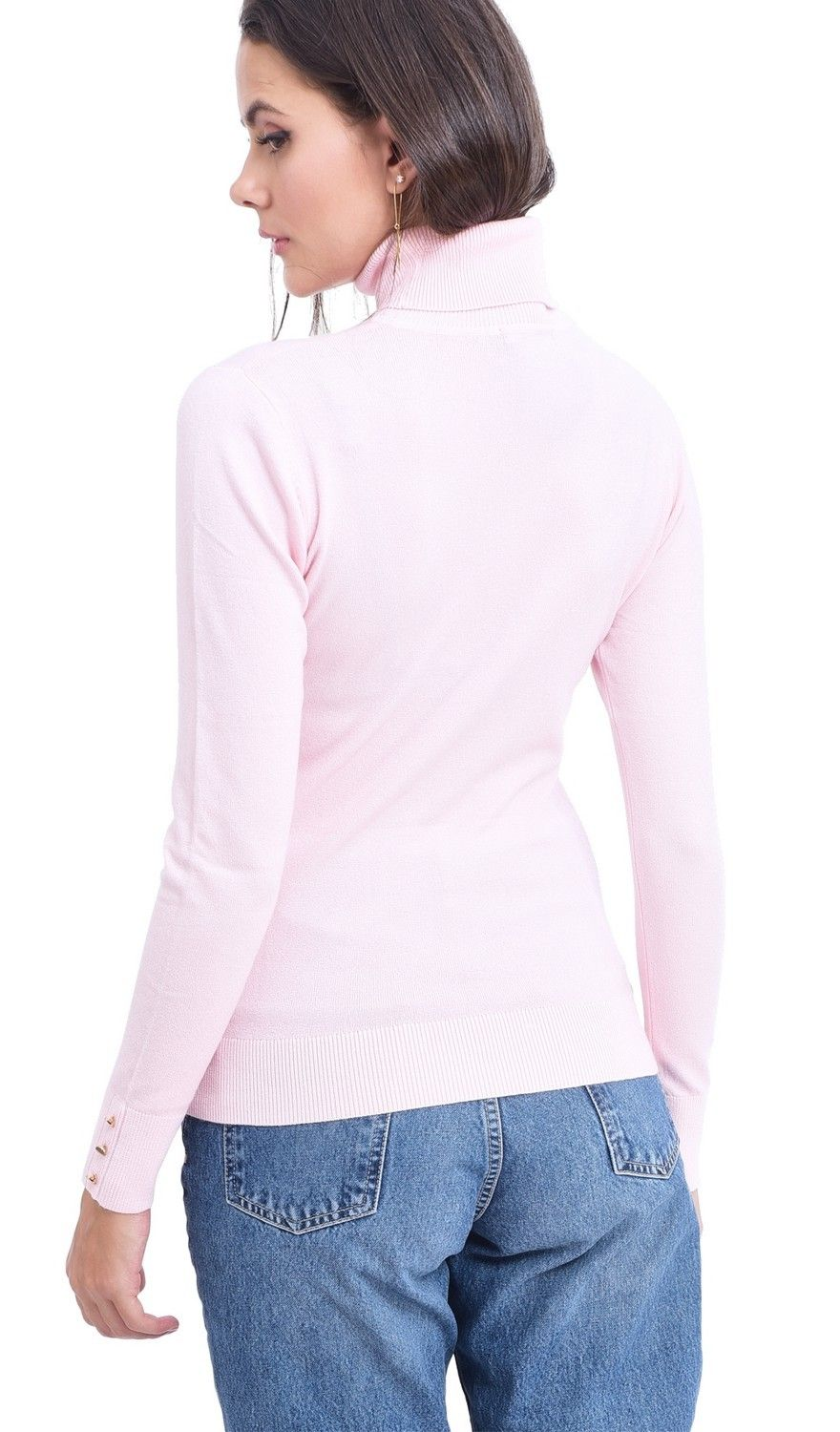 Assuili Roll Neck Sweater with Buttoned Sleeves in Pink