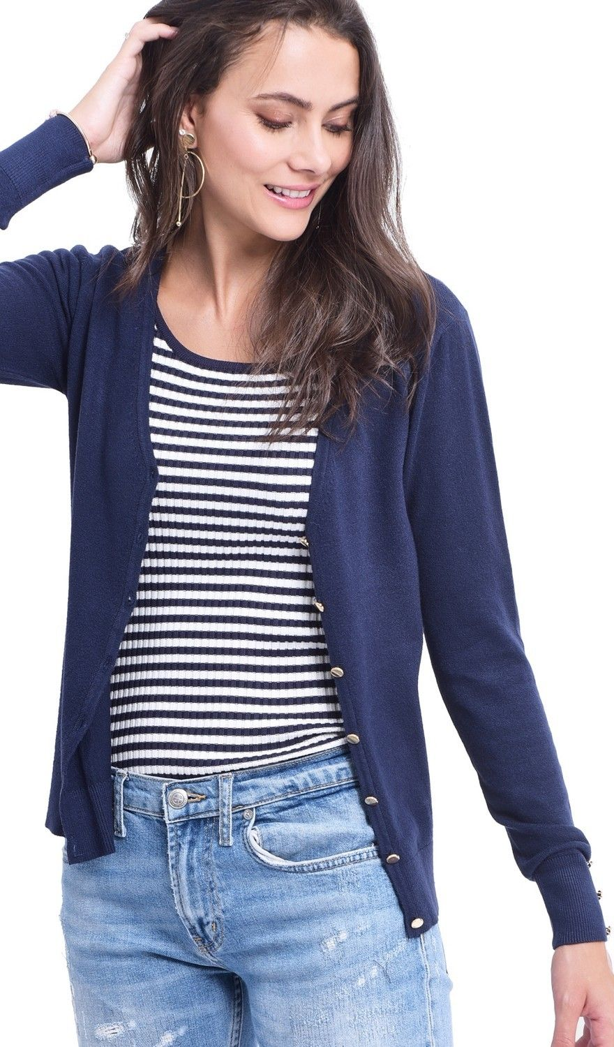 Assuili V-neck Cardigan with Gold Buttons in Navy