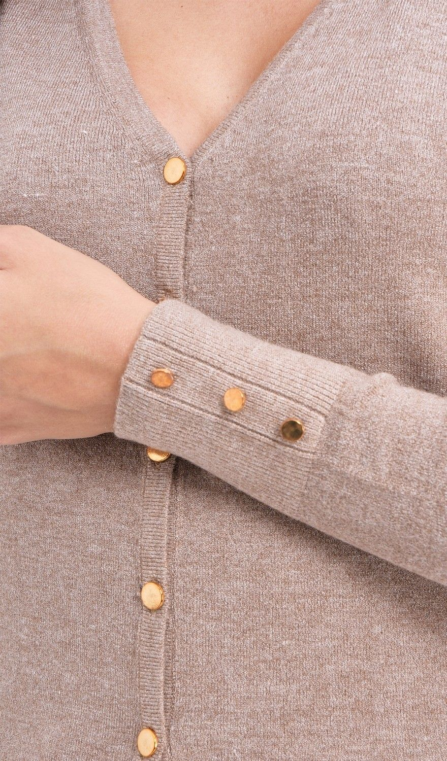 Assuili V-neck Cardigan with Gold Buttons in Beige