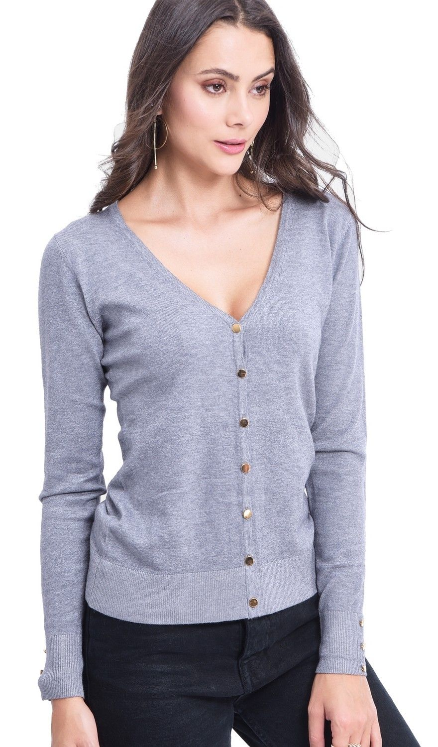 Assuili V-neck Cardigan with Gold Buttons in Grey