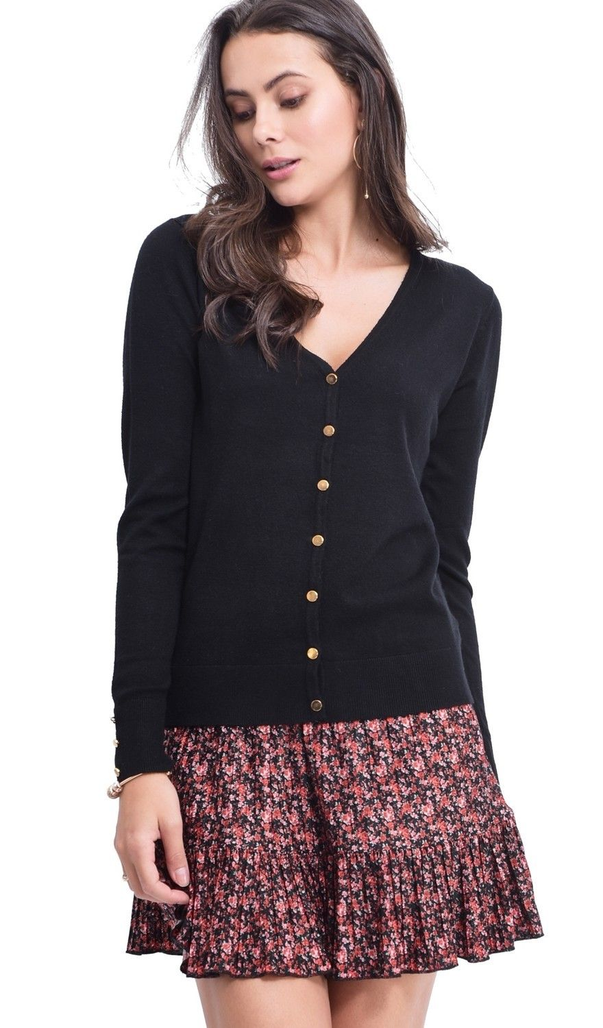 Assuili V-neck Cardigan with Gold Buttons in Black