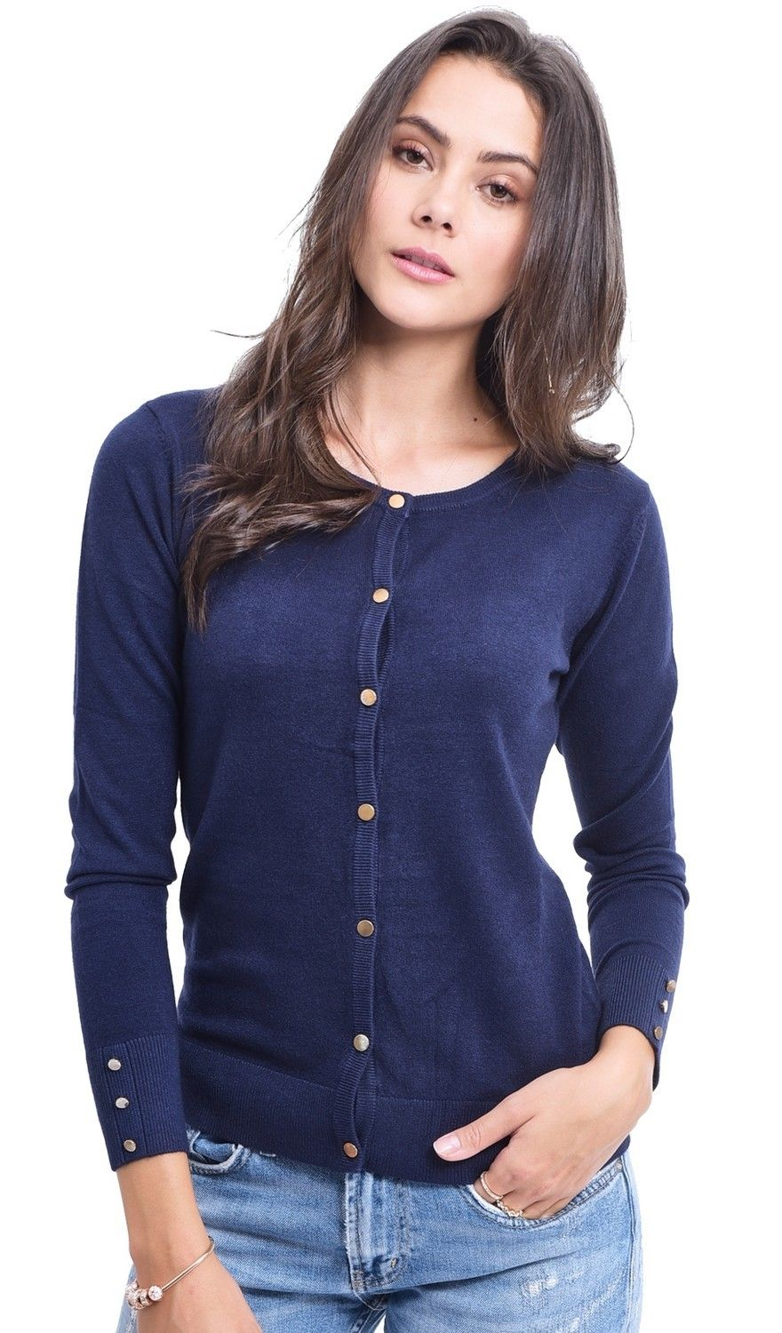 Assuili Round Neck Cardigan with Gold Buttons in Navy