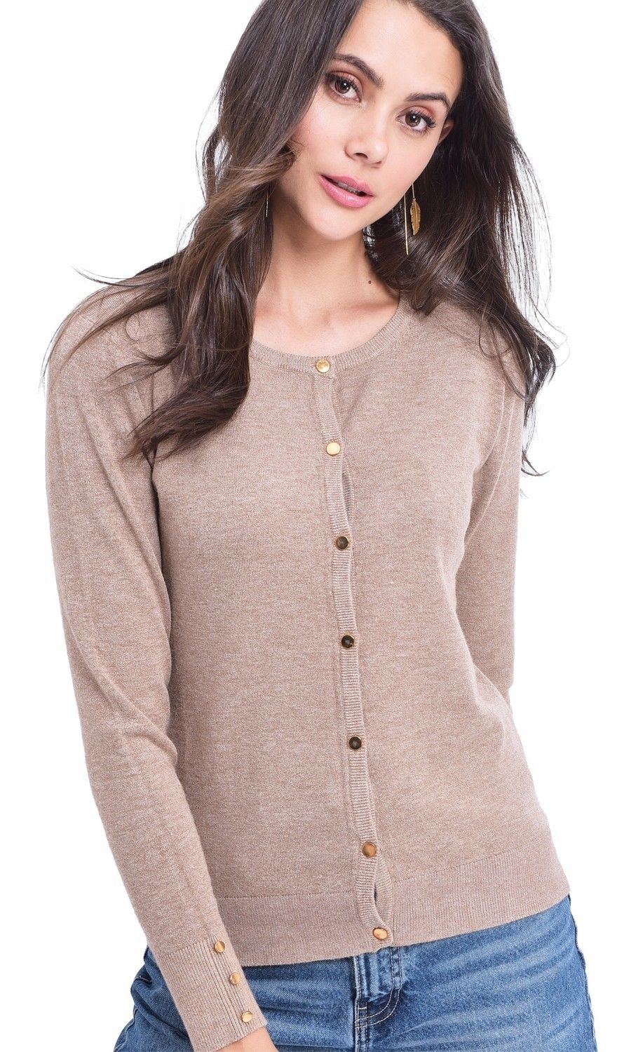 Assuili Round Neck Cardigan with Gold Buttons in Beige