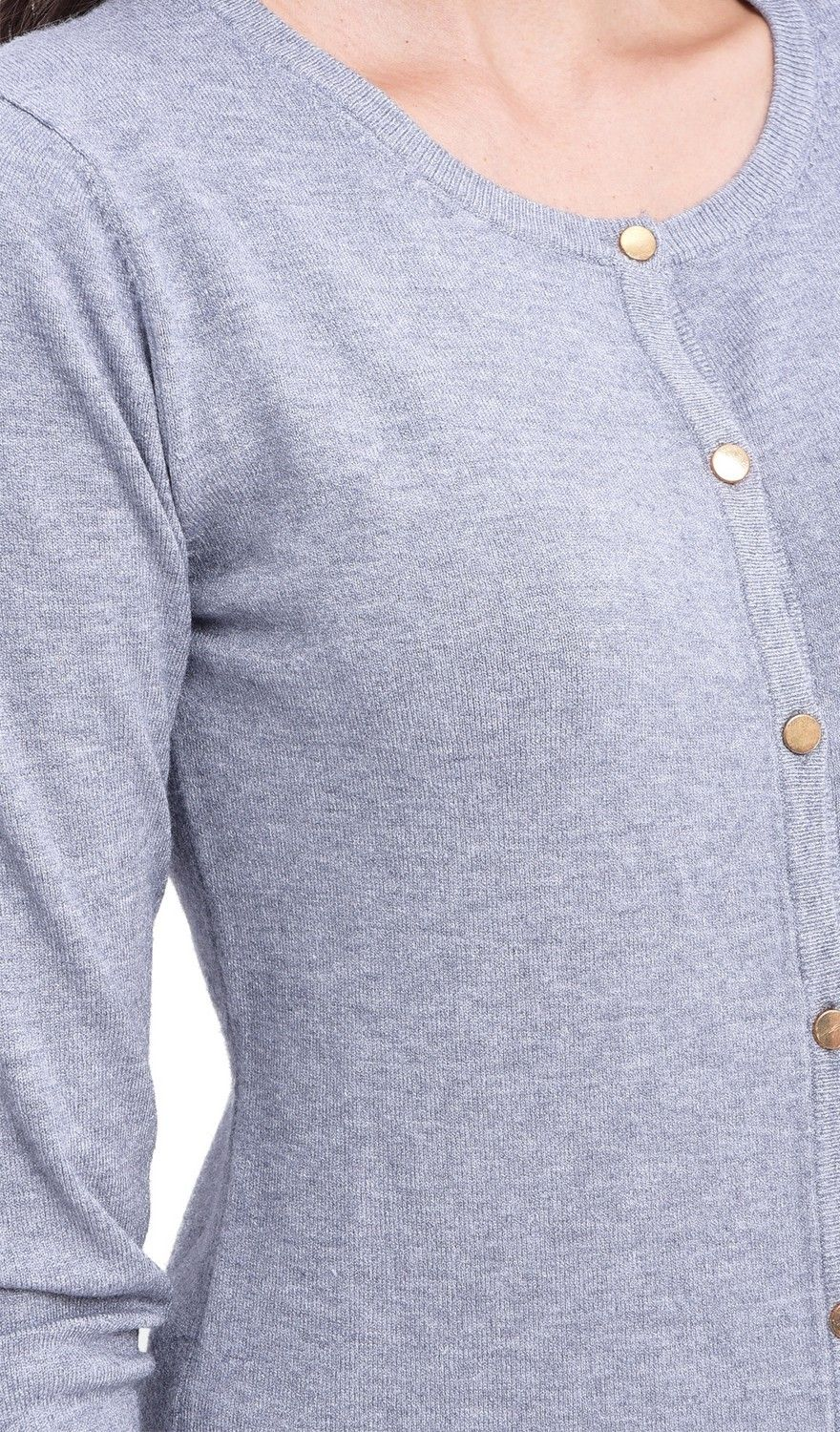 Assuili Round Neck Cardigan with Gold Buttons in Grey