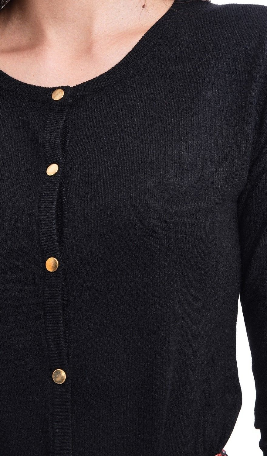 Assuili Round Neck Cardigan with Gold Buttons in Black