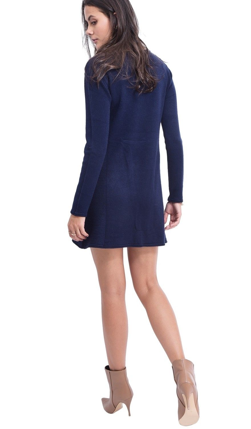 Assuili Round Neck Ribbed Side Tunic in Navy
