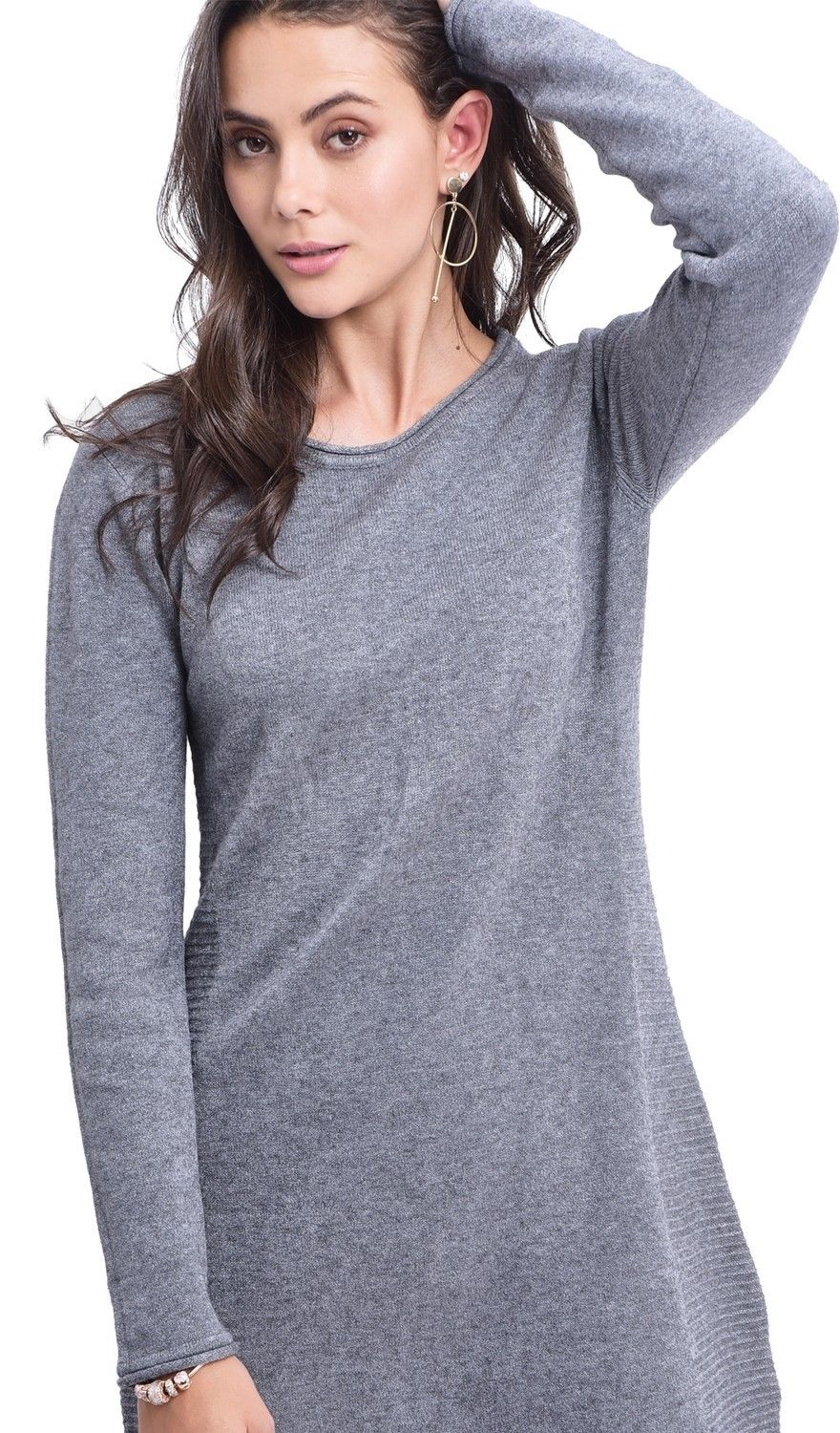 Assuili Round Neck Ribbed Side Tunic in Grey