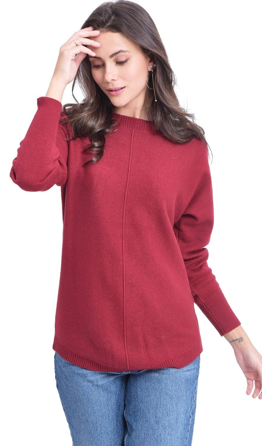Assuili Boat Neck Batwing Sleeve Sweater in Maroon
