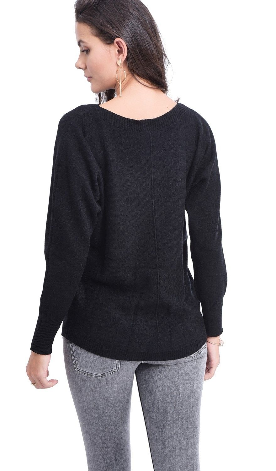 Assuili Boat Neck Batwing Sleeve Sweater in Black