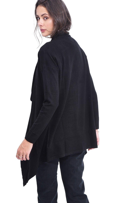 Assuili Longline Shawl Collar Cardigan in Black