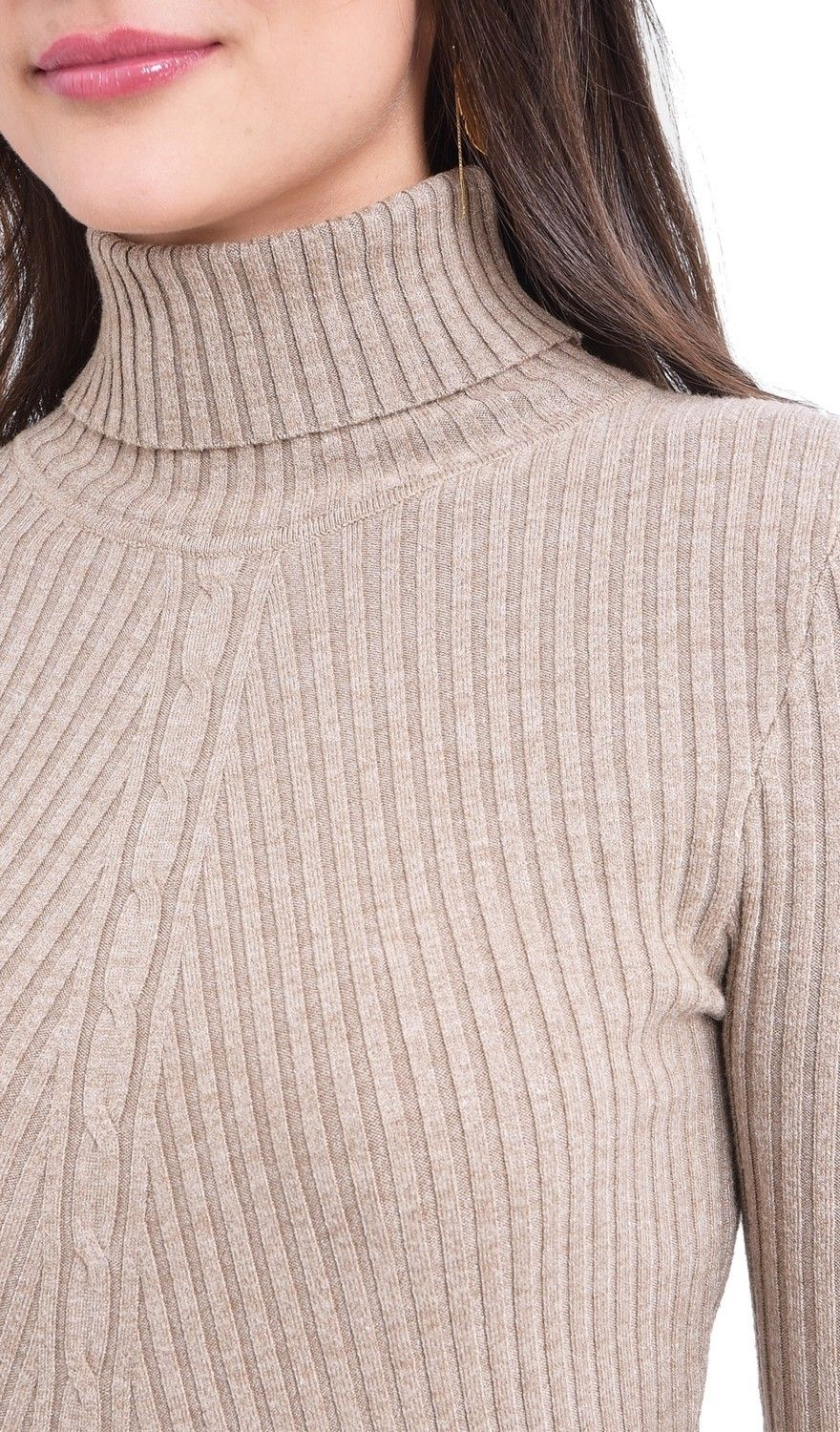 Assuili Turtleneck Twisted Yarn Front Sweater in Beige