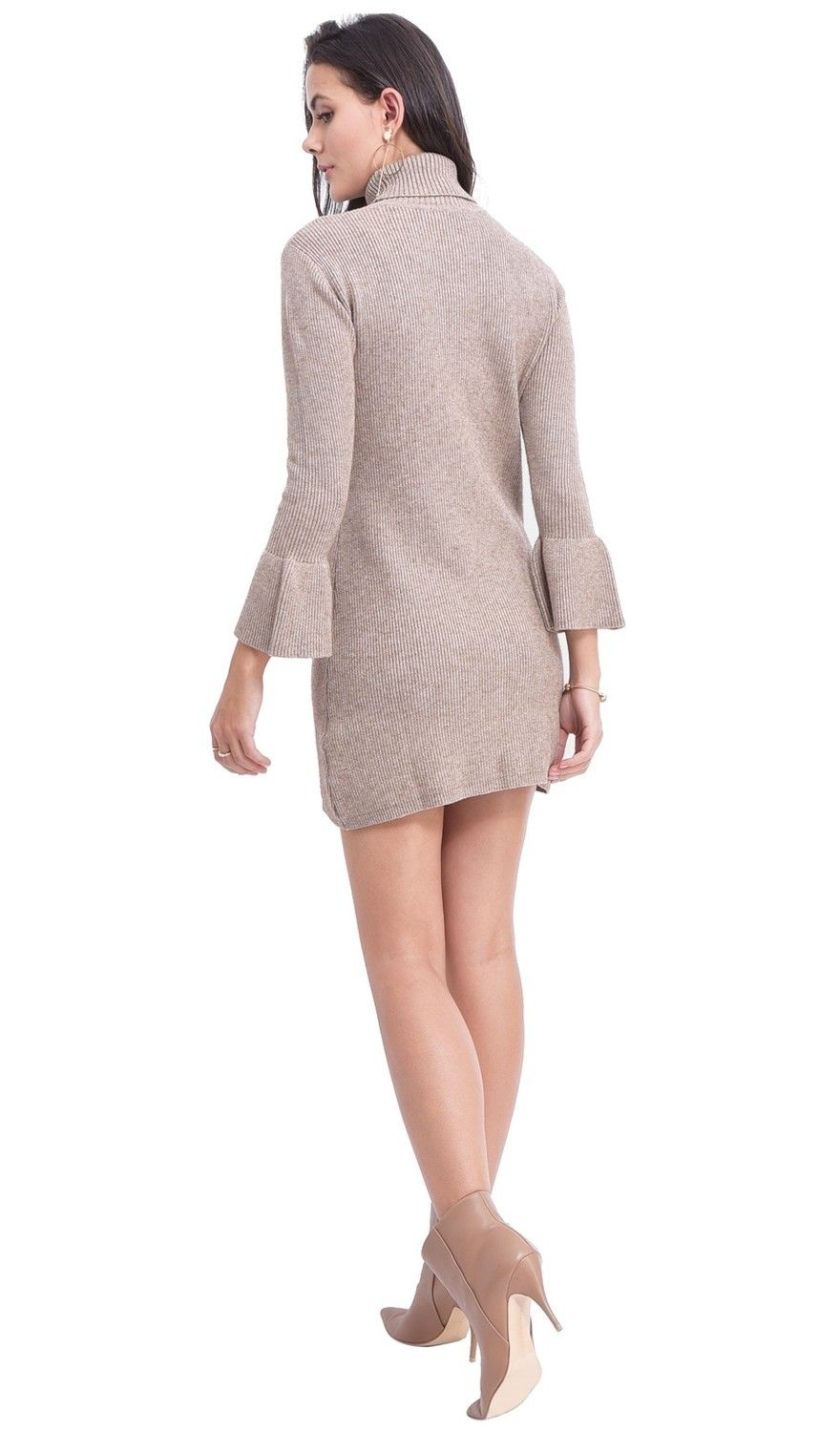 Assuili Roll Neck Dress with Babydoll Sleeves in Beige