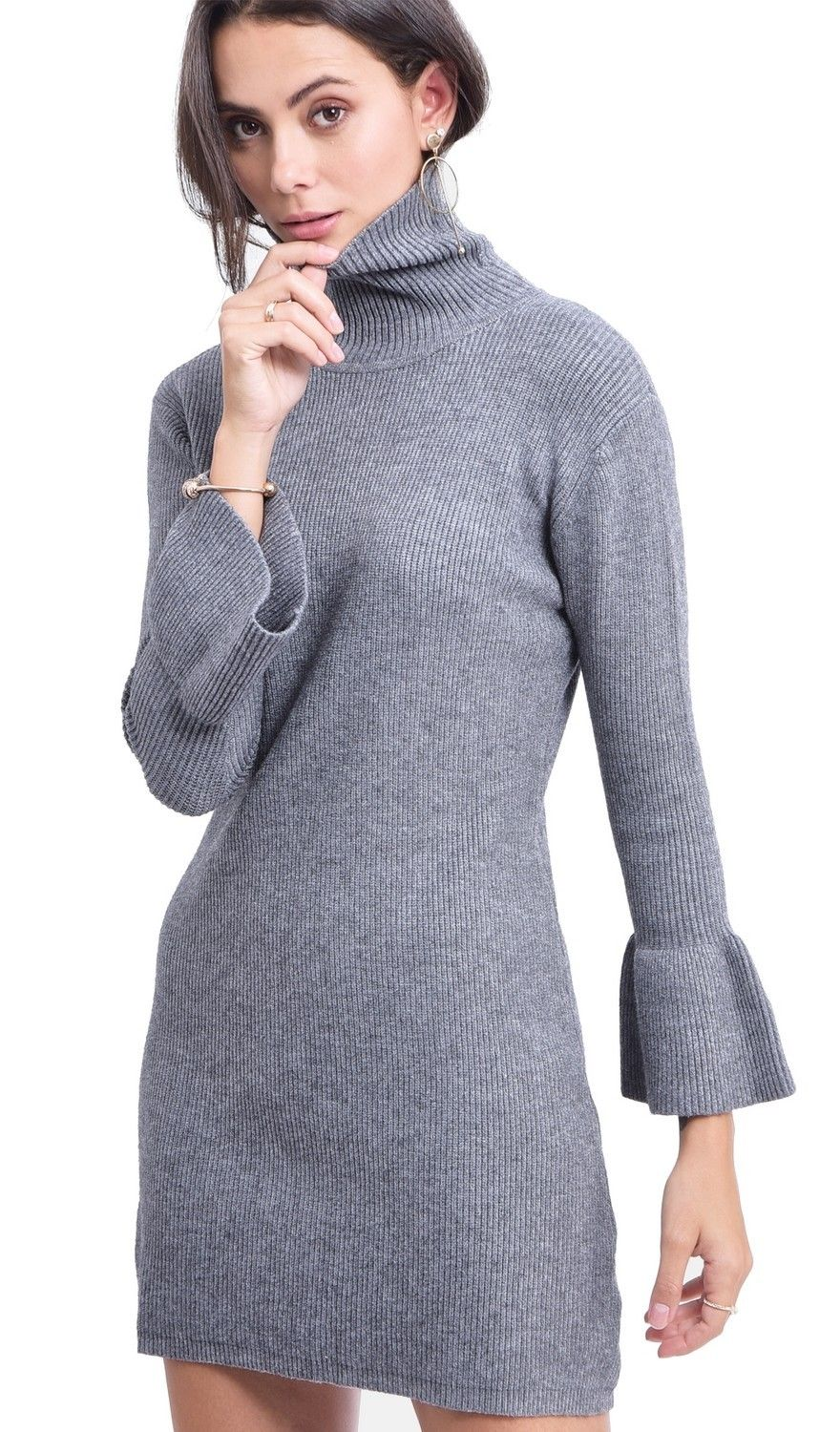 Assuili Roll Neck Dress with Babydoll Sleeves in Grey