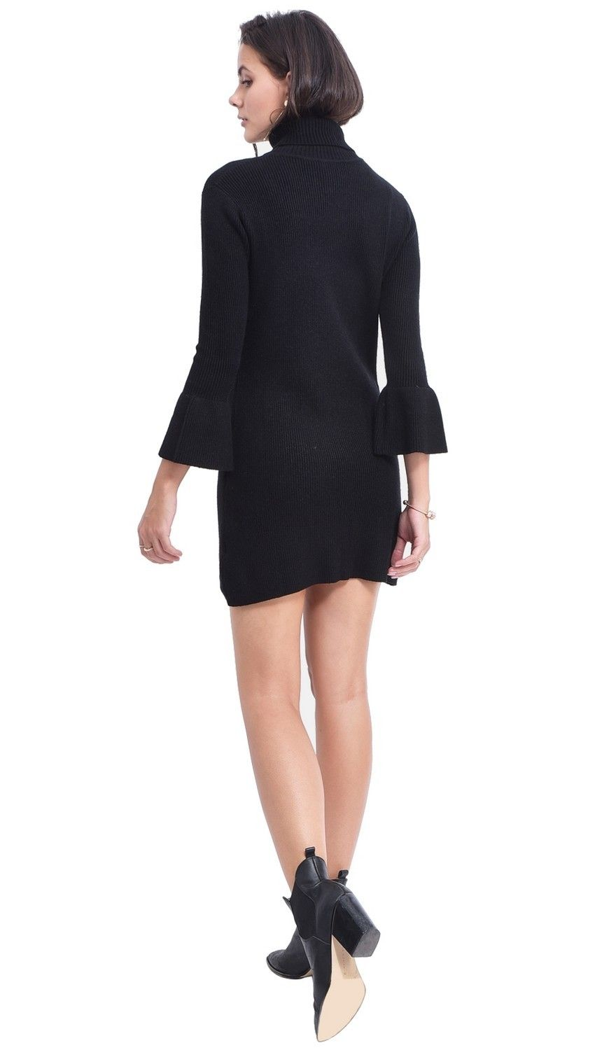 Assuili Roll Neck Dress with Babydoll Sleeves in Black