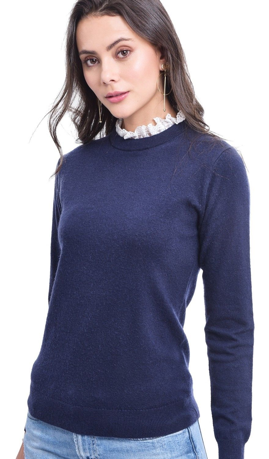Assuili Ruffled Lace Collar Sweater in Navy