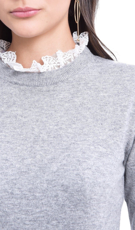 Assuili Ruffled Lace Collar Sweater in Light Grey