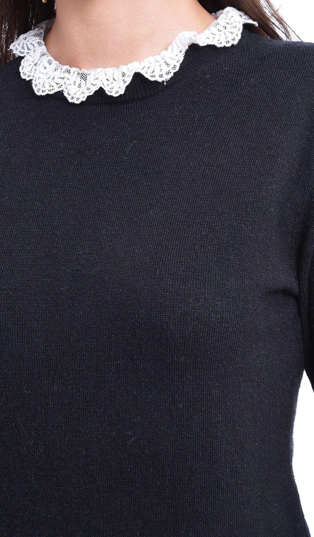 Assuili Ruffled Lace Collar Sweater in Black