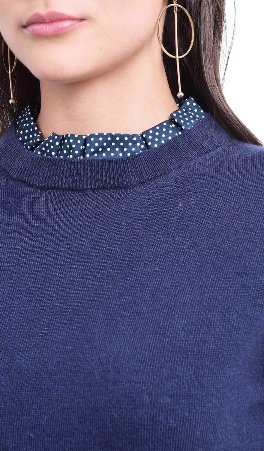 Assuili Polka Dot Ruffle Collar Sweater in Navy