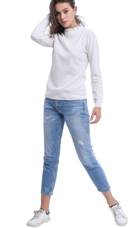 Assuili Polka Dot Ruffle Collar Sweater in Natural