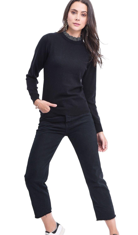 Assuili Polka Dot Ruffle Collar Sweater in Black