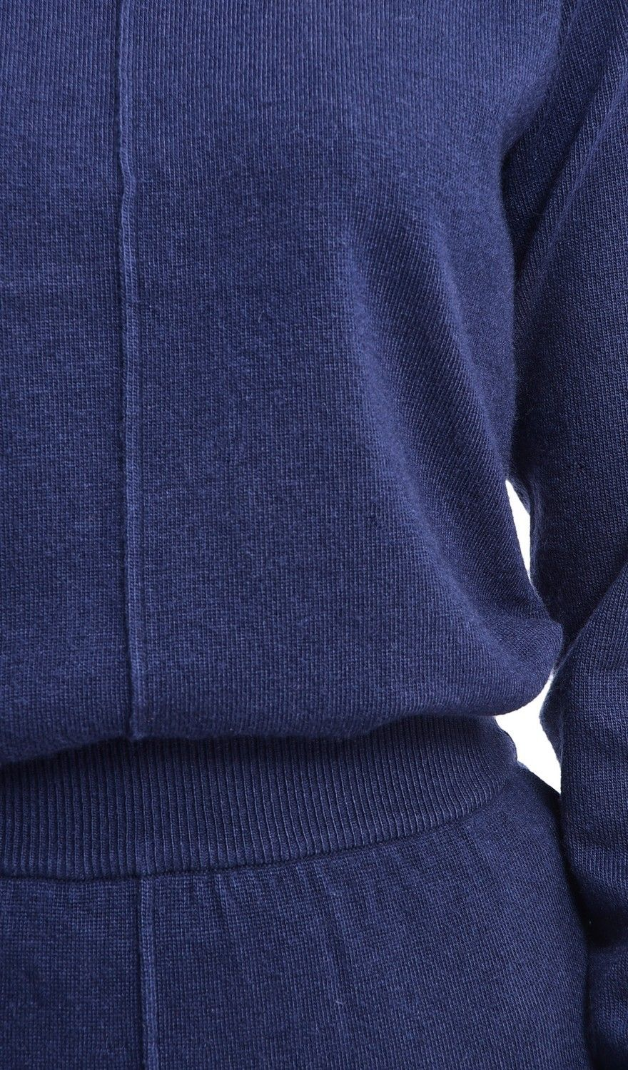 Assuili Round Neck Ribbed Sweater in Navy