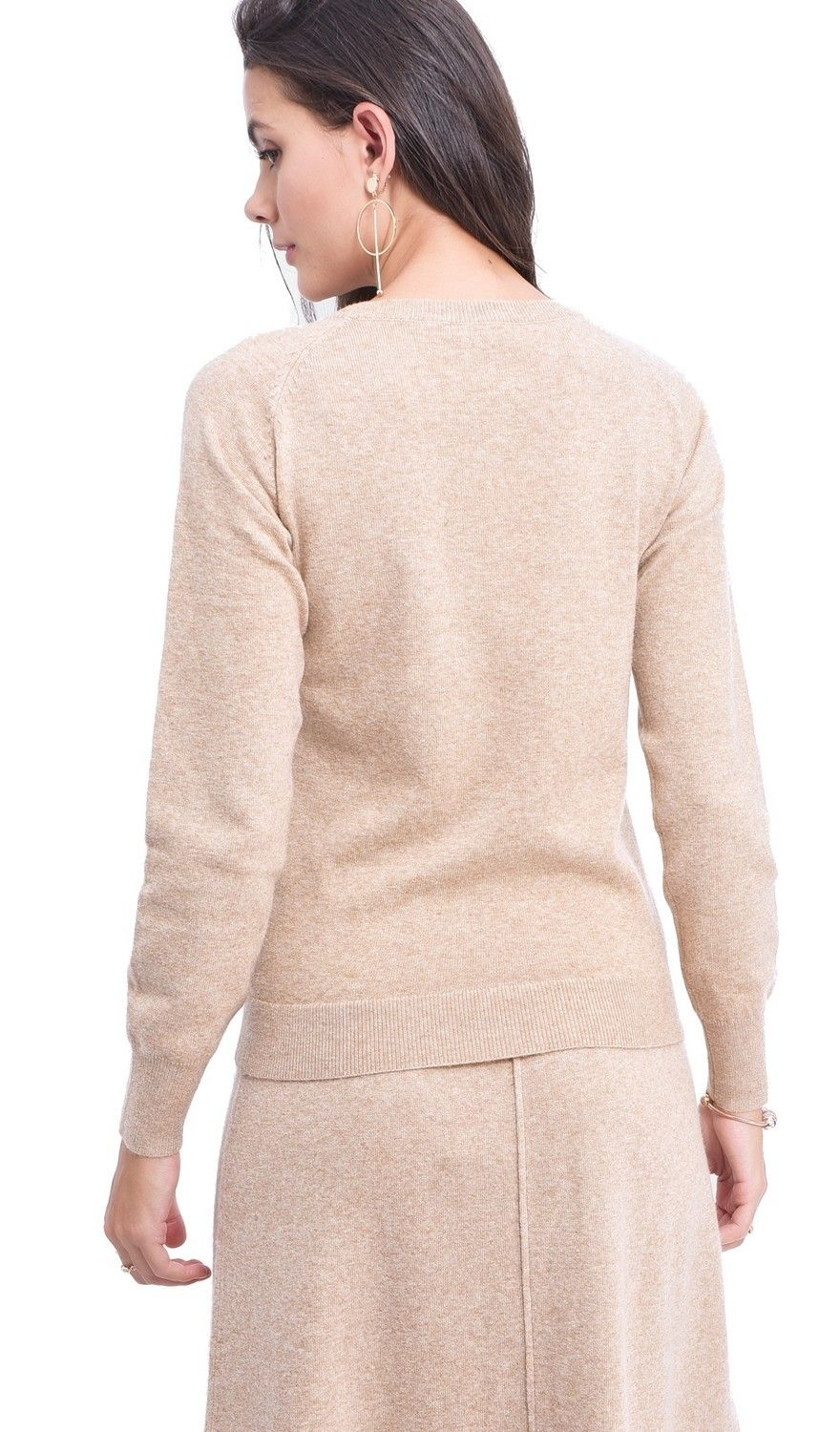 Assuili Round Neck Ribbed Sweater in Beige