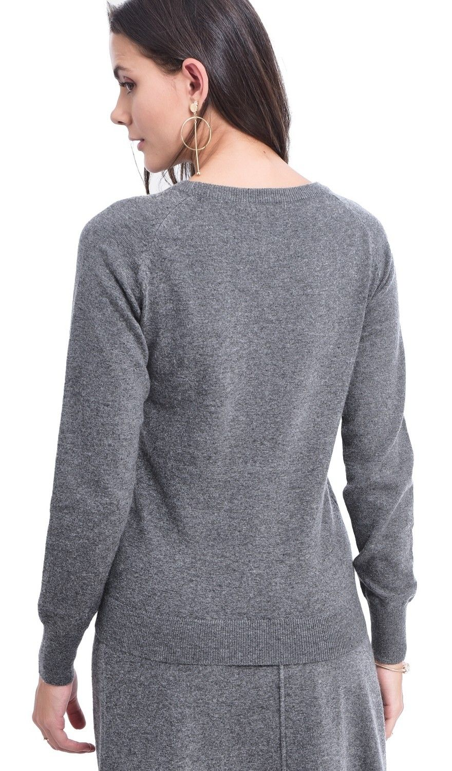 Assuili Round Neck Ribbed Sweater in Grey