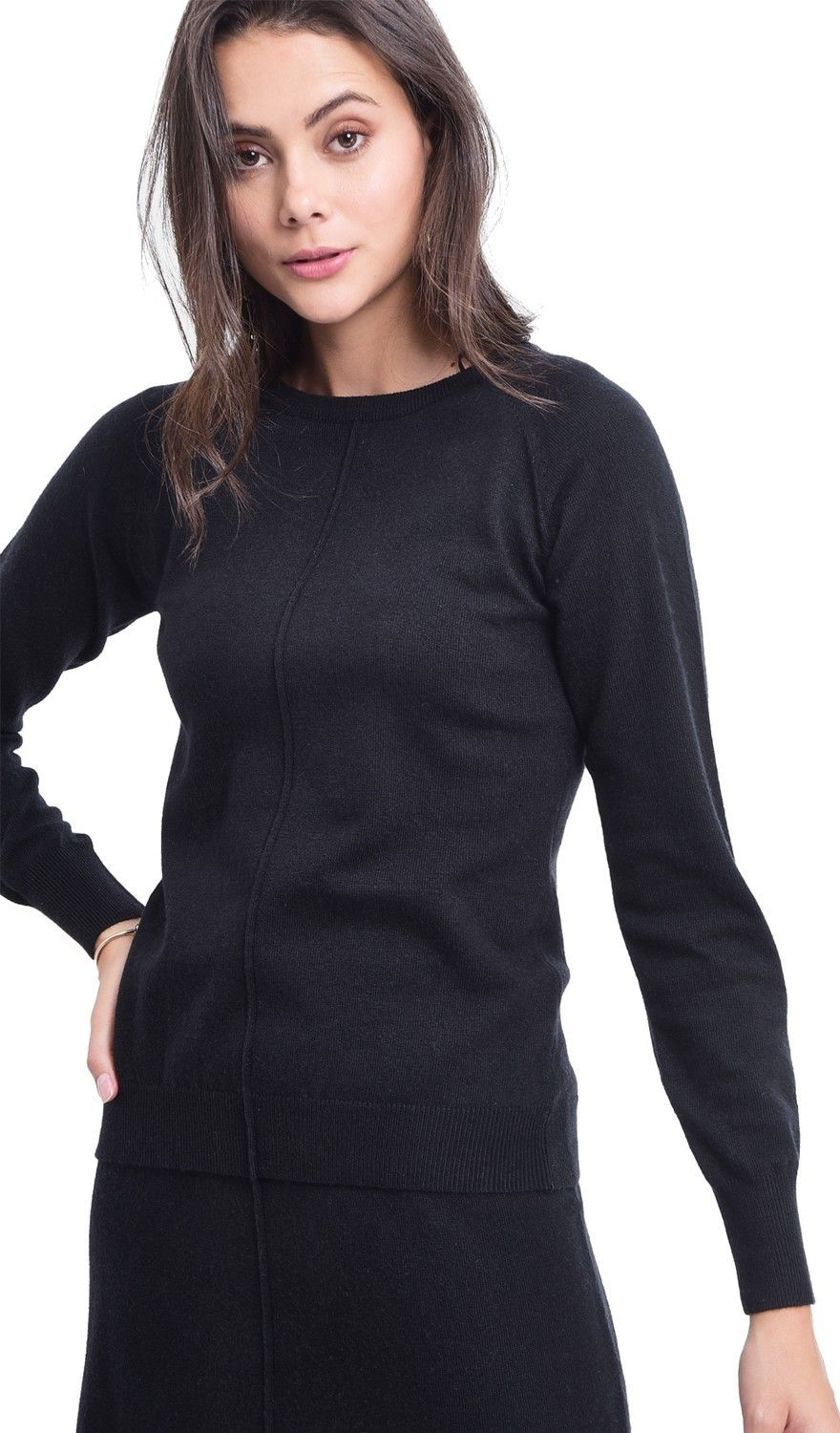 Assuili Round Neck Ribbed Sweater in Black