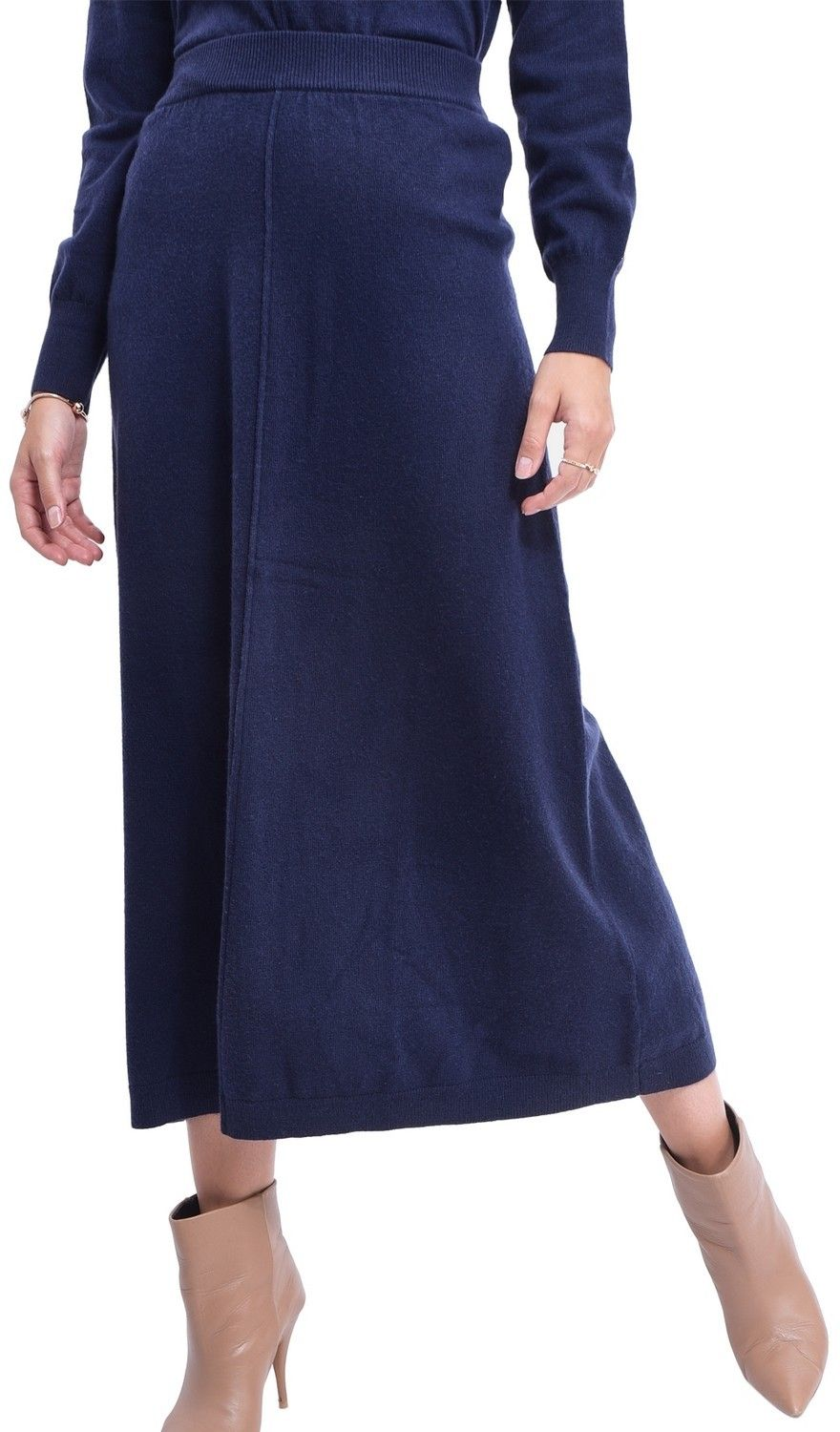 Assuili Ribbed Midaxi Skirt in Navy