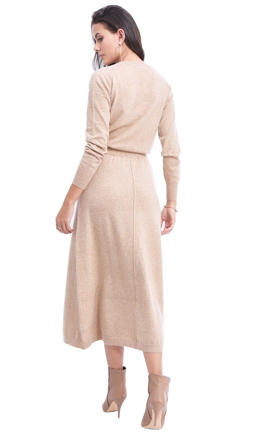 Assuili Ribbed Midaxi Skirt in Beige
