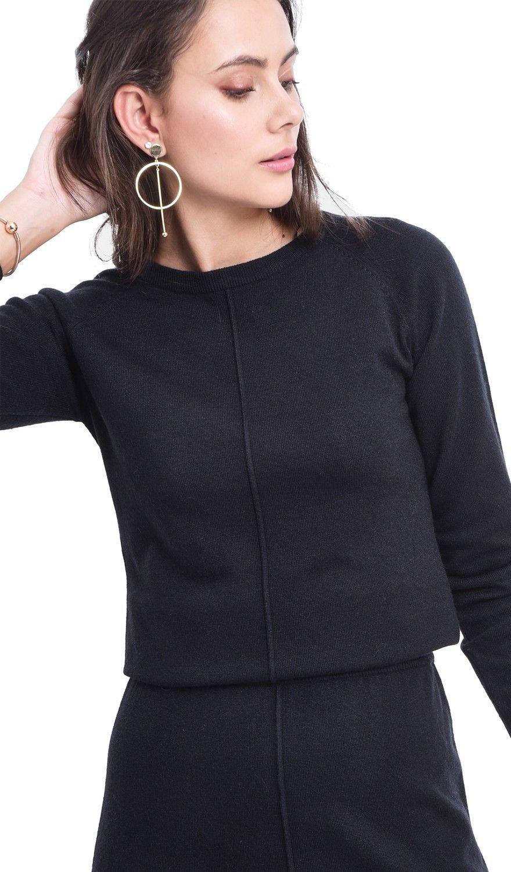 Assuili Ribbed Midaxi Skirt in Black