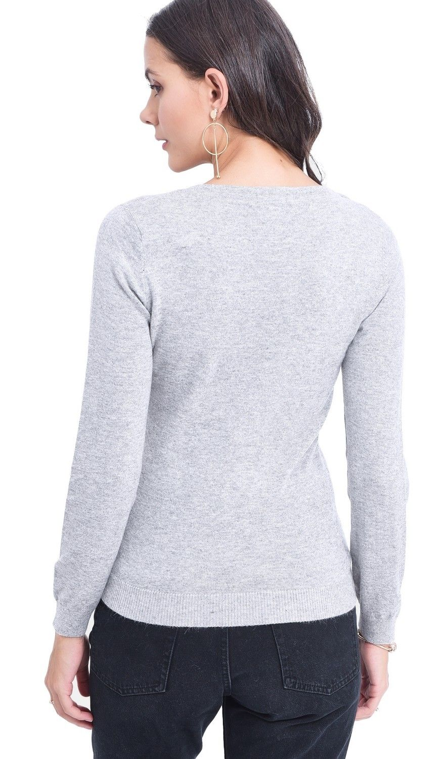 Assuili V-neck Sweater in Light Grey
