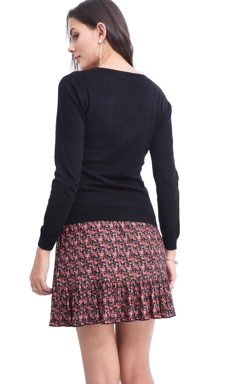 Assuili V-neck Sweater in Black