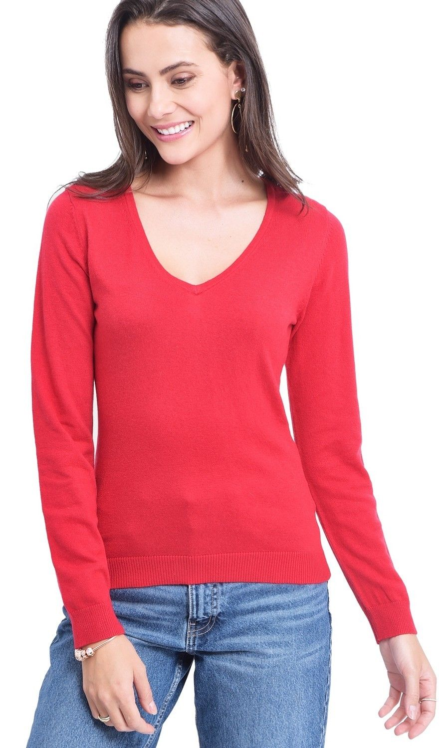 Assuili V-neck Sweater in Red