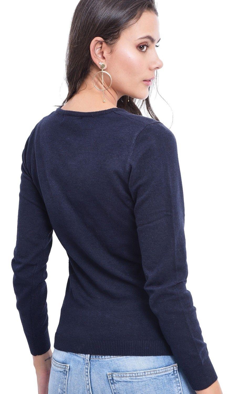 Assuili Round Neck Sweater in Navy