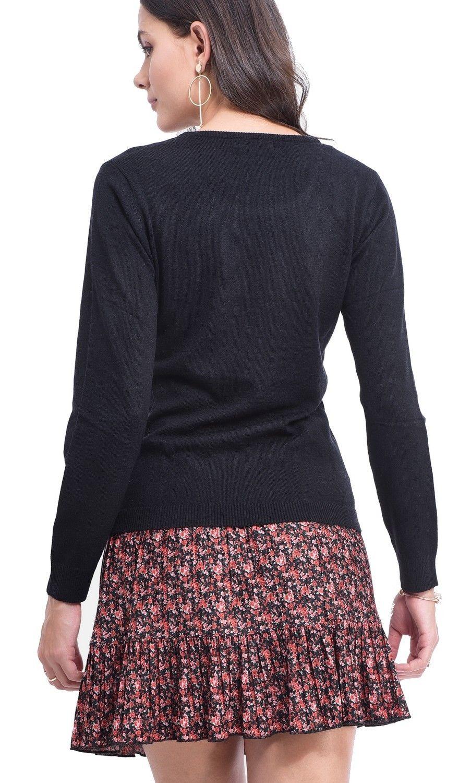 Assuili Round Neck Sweater in Black