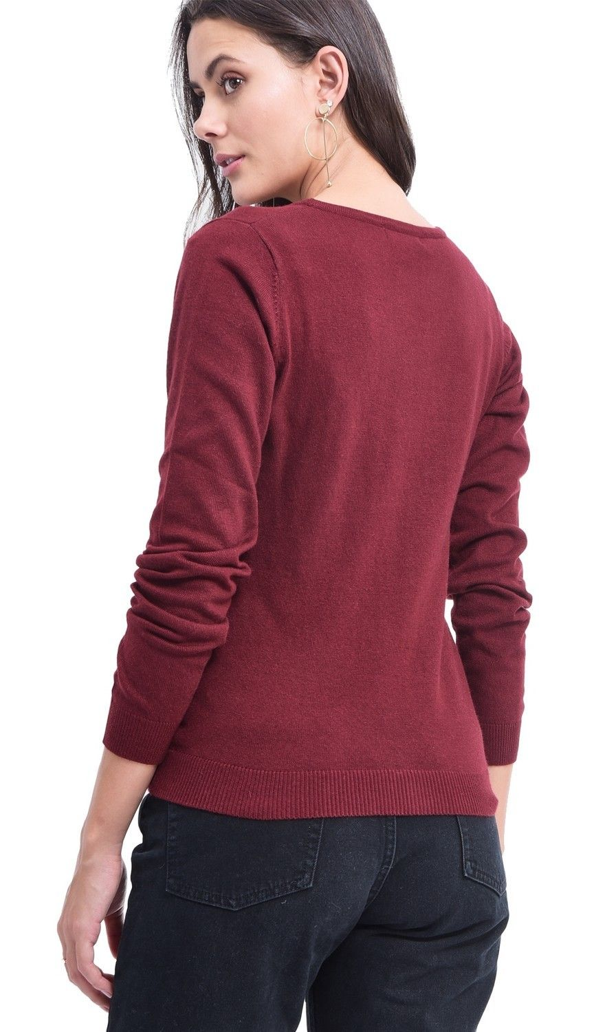 Assuili V-neck Buttoned Cardigan in Maroon