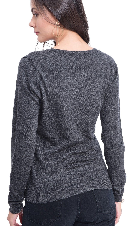 Assuili V-neck Buttoned Cardigan in Grey