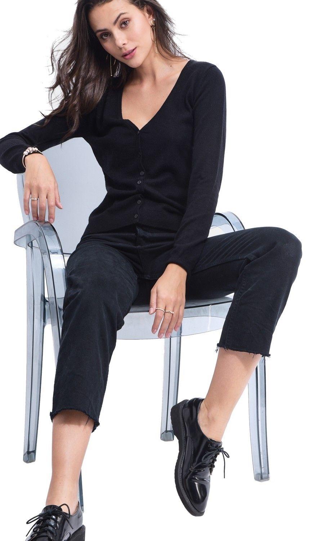Assuili V-neck Buttoned Cardigan in Black